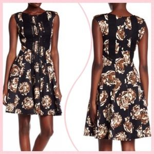 Taylor Dress 12 Black Brown Floral Sleeveless NWT